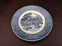 "Blue Transferware Currier & Ives Harvest Scene 6-1/2"" Bread Plate (Cat.#3B051)"