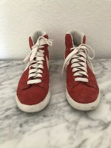 Womens Nike High Top Lace Up Red Suede Polka Dot Shoe Size 9.5