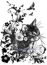 CAT Flower Flourish Cling Unmounted Rubber Stamp IndigoBlu Stamp INDO175 NEW
