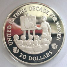 Barbados 1985 Year of Women 20$ Silver Coin,Proof