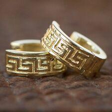 Small Greek Key Hoop Huggie Earrings Men's Solid 14k Gold Plated Sterling Silver