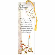 Confirmation Day Laminated Bookmark with Gold Tassel - Symbolic
