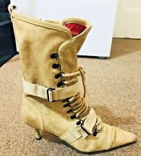 DIESEL Women's EVEREST Leather Mid-Calf Tan Stiletto Boots UK 4 EUR 36 US 6