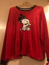 NWT Red Plaid Peanut Snoopy Long Sleeve Velour Pajama Set - Pants & Top Size 3X