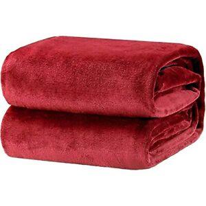 Bedsure Fleece Blanket Twin Size Burgundy Lightweight Super Soft Cozy Luxury