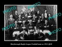 OLD LARGE HISTORIC PHOTO OF MARYBOROUGH QLD, THE RUGBY LEAGUE TEAM c1912