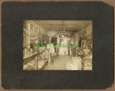2 Antique Photos GROCERY PRODUCE MARKET 1890s PA Interior Exterior CABINET CARD