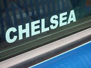 CHELSEA car, van window sticker reverse printed white stick on inside of window