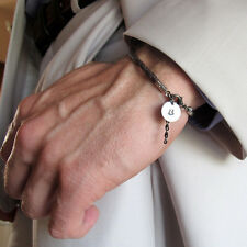 Id Mens Bracelet. Initial Charm Leather Bracelet. Personalized Gifts For Men.