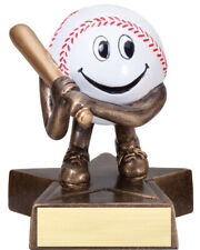"""8 - adorable baseball award trophy, perfect for t-ball with engraving, 4"""" tall"""