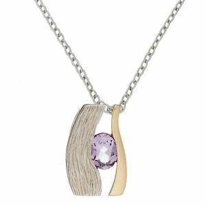 Silverly Colgante Mujer Plata Ley 925 Chapado en Oro Collar Ojo Piedra Amatista