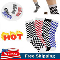 Ankle Vintage Checkerboard Casual Sport Cotton Striped Plaid Solid Socks AU