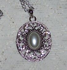 SNAP Silver Oval Pendant,Pearl Center Snap, Silver Chain,Interchangeable