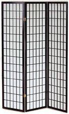 Pantalla De madera negro sólido e papel de arroz con 3 puertas Plegable 43 cm.,