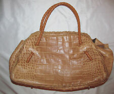 FURLA croc embossed soft beige brown leather woven straps large shoulder bag