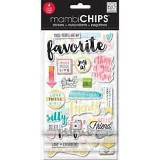 Favorite Chipboard Stickers w Gold Glitter 4 Shts MAMBI Chips Me & My Big Ideas