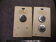 Vintage La Mode  Metal Silver Crest Type Buttons  Lot of 3 on a Card