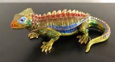 Stunning Kingspoint Jeweled Enamel Lizard Trinket Box