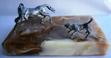 Vintage Cast Silver Figural Horse and Dog Paperweight Desk Ornament