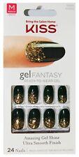 KISS Gel Fantasy* 24 GREEN+GOLD CONFETTI Glue/Press-Ons PAINTED VEIL #60665 1b