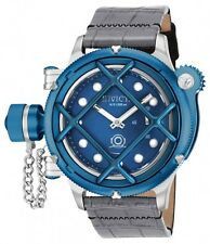 New Men's Invicta 16228 Russian Diver Swiss Mechanical Blue Dial Leather Watch