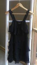 Gorgeous ARMANI EXCHANGE Little Black Ruffled Tiered Silk Mini Dress Sz 0 XS EUC