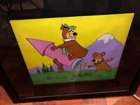 yogi bear cel hanna barbera signed boo boo yogi on a rocket rare animation cell