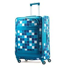 "American Tourister® iLite Max 25"" Spinner Suitcase in Light Blue Squares"
