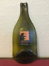 "d) Bottled Toasted Head Chardonnay ~ Melted Flattened Wine Bottle Decor 12"""