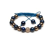 Shamballa Bracelet UK Lapis Lazuli Pyrite Gemstone Gold Pave Clear Crystal
