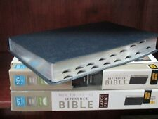 ** NIV LARGE Print Reference Bible **NAVY Leather *Thumb-INDEXED *NEW!!    423