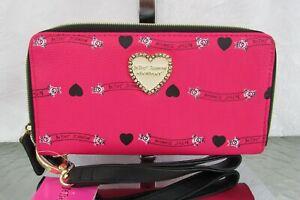 Betsey Johnson Fuchsia Wallet Double Zip Around Logo Floral Wristlet Clutch NWT
