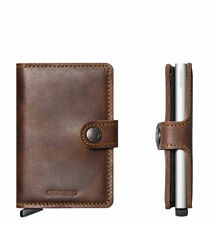 Secrid Mini Leather Brown Vintage Wallet for Men with Clip Card Protector Case