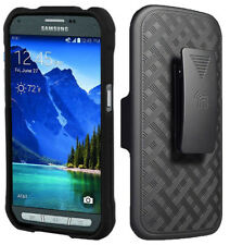 BLACK RUBBERIZED HARD CASE + BELT CLIP HOLSTER FOR SAMSUNG GALAXY S5 ACTIVE