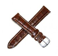 Jacques Lemans 20MM Genuine Crocodile Leather Skin Watch Strap Brown Silver NEW!