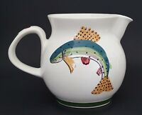 "Iden Pottery Trout Fish Pitcher Rye Sussex England Hand Painted Art 5 1/4"" Tall"