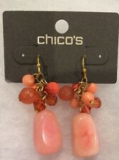 "CHICO'S Coral, Salmon Stone Bead Cluster 1.75"" Linear Drop Earrings-NWT!"