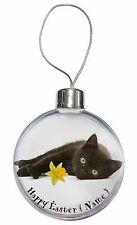 Black Cat Personalised Name Christmas Tree Bauble Decoration Gift, AC-185DA2CB
