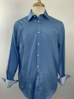 Nicole Miller Button Up Shirt Mens Size 16 Blue Contrast Cuff  Long Sleeve