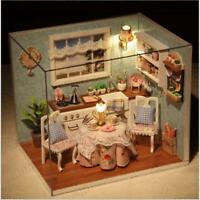 Happiness Kitchen DIY Gift Wooden Dollhouse Miniature Kit Model w Lamp No Cover