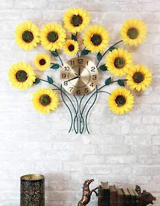 Large Lifelike Yellow Sunflowers Floral Blooms Gold Plated Metal Wall Clock