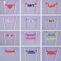 Baby Kids Birthday Cake Toppers Flags Bunting Banner Party Wedding Cake DecoYNFU