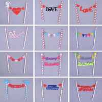Baby Kids Birthday Cake Toppers Flags Bunting Banner Party Wedding Cake Decor LJ