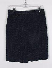 J. Crew Textured Tweed Wool Blend Navy Blue Pencil Skirt Women's Sz 2