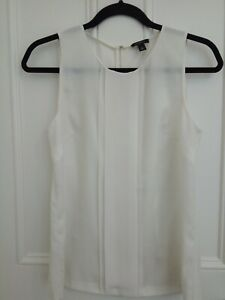 ANN TAYLOR WHITE SLEEVELESS BLOUSE TOP UK SIZE SMALL 8-10 US SIZE 4