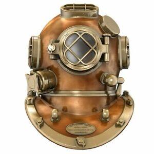"Boston Antique Heavy Diving helmet ~Mark V Vintage Brass Divers Scuba Helmet 18"""
