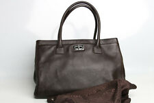 Authentic CHANEL Calfskin Cerf Shopper Tote Bag Purse A29293 Y03790 Coffee Brown