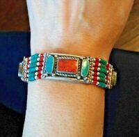 """Southwestern Native 925 Sterling Silver Turquoise Coral 40gr  Bracelet 7"""" (#52)"""