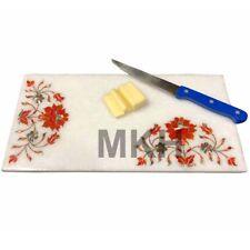 White marble inlay tile handmade semiprecious stones Platter Vintage Mosaic