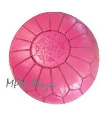 MPW Plaza Pouf, Fuchsia, Moroccan Leather Ottoman (Stuffed)
